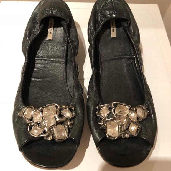 9de99a295e5 Miu Miu Jewel Encrusted open toed Ballerina Flats.  M 5a9b617e2c705d341a036a9b. Other Shoes ...